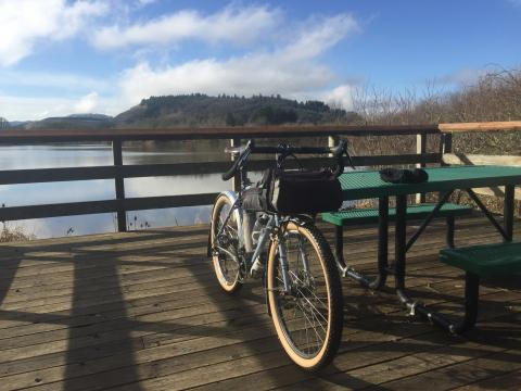 Bike on picnic table