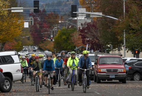 Critical Mass ride through Corvallis
